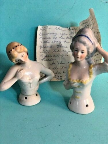 2 Antique Vintage Germany Colonial Girl Porcelain Pin Cushion Half Doll History
