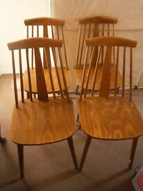 SET OF FOUR VINTAGE 1960s ERCOL STYLE WOODEN DINING CHAIRS