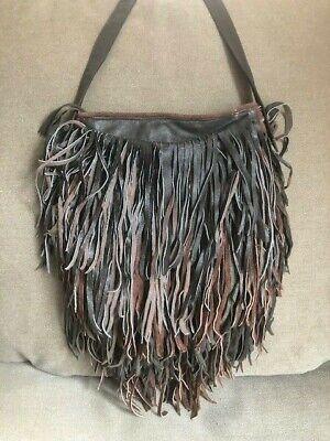 Charlize Kyle Couture Vintage Handbag Purse Brown Leather Fringe Crossbody Bag