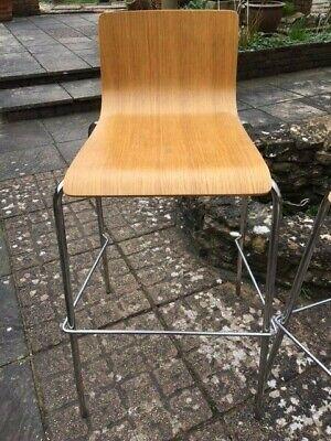 bar stool - plywood seat - chrome legs - used