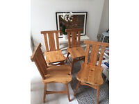 Solid Wood Dining Chairs Good Condition 4 Available