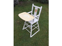 Vintage White Wooden Baby High Chair
