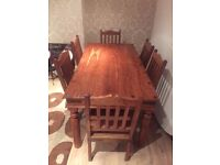 op quality solid wood Dining table with 6 chairs For Sale