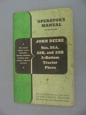 John Deere 55a 55b 55h 3-bottom Tractor Plow Operators Manual