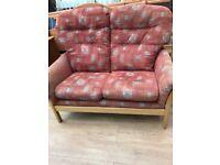 High Back Fabric Sofa, Armchair & Foot Stool