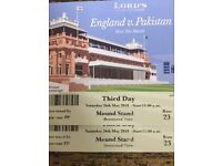 England vs Pakistan Tickets, Saturday 26th May, Day 3, Mound Stand x2