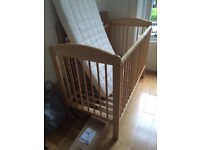 Second hand wooden cot with barely used mattress