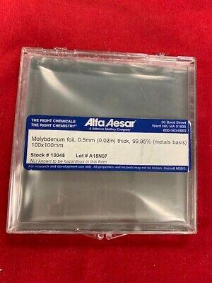 Alfa Aesar Molybdenum Foil 0.5mm 0.02in Thick 99.95 Metal Basis 100x100mm