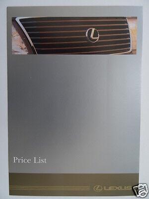 Lexus Price List 1995 - LS400, GS300 Models.