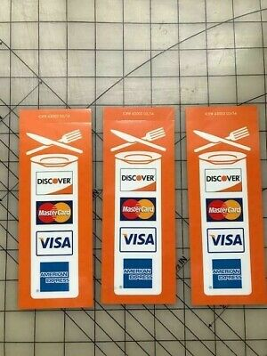 3 New Restaurant Credit Card Signs Visa Mastercard Discover Amex Stickers Decals