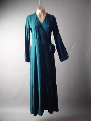 Teal Blue Fit and Flare Skirt Party Wedding Wrap Long Maxi 294 mv Dress S M (Long Sleeve Fit And Flare Wedding Dress)