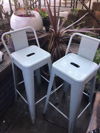 Tolix style industrial bar stools with back