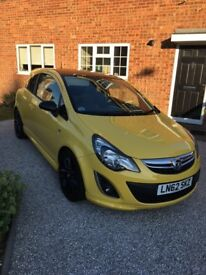 Yellow Vauxhall Corsa Limited Edition 1.2L 3 door Petrol. Only 20,000 miles - immaculate condition