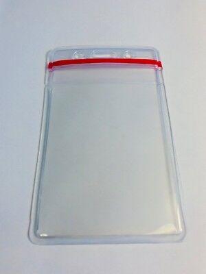 Vertical Badge Holder, Red Zip-Lock Top, Water Resistant Clear Heavy Duty Vinyl