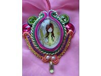 """Soutache """"Flower girl"""" handmade large pendant brooch with Rivoli and crystal drop new"""