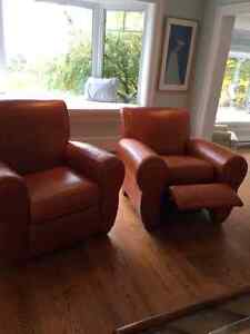 Pair of Lazy Boy Leather Reclining Club Chairs