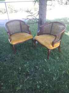 Two Mid Century Vintage Hollywood Regency Barrel Back Chairs