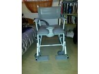 High Quality, As New (never used), Self Propelled Shower Chair with Removable Commode