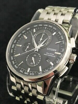 Citizen Eco Drive H804 Radio Controlled Stainless Steel Mens Wrist Watch - Nice!