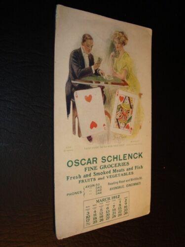Circa 1912 Oscar Schlenck Fine Groceries Playing Card Blotter, Cincinnati, Ohio