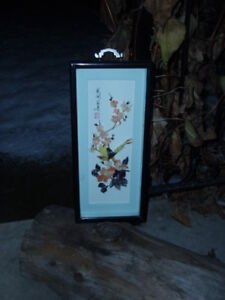 ~ VINTAGE CHINESE SIGNED BIRD BLOSSOM SHELL CARVING SHADOW BOX ~