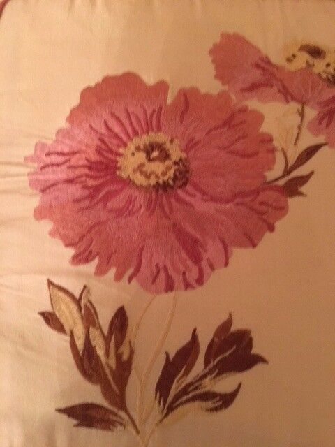 Two pairs cream silk curtains,embroidered with pink poppies, lined and interlined.
