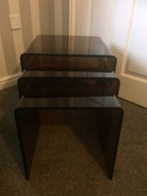 Nest of 3 tables in smoked brown glass