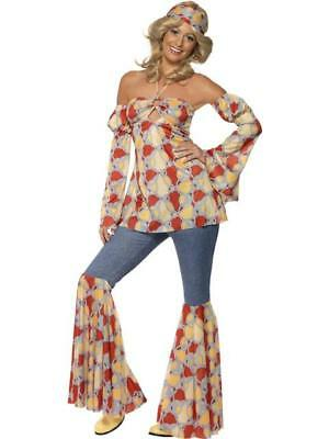 Ladies 1970's Vintage Hippy Fancy Dress Costume 16-18
