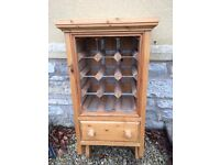 Solid pine wine rack with storage