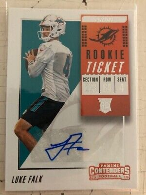2 LUKE FALK 2018 Panini Contenders Rookie Ticket Auto  PACK FRESH!