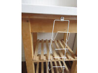 Wooden Kitchen Butcher Block Island Trolley with wheels and White worktop on top