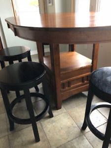 "Wood Kitchen Table and 4 stools - Countertop height (36"" tall)"