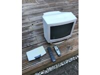 small tv and free view box .