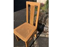 Cane seat dining chair