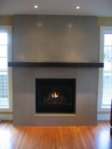 Black stained fireplace mantle