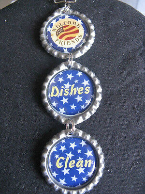 "Welcome Friends ""America"" Dishwasher Clean/Dirty Ornament ~ Blue ~ **Gift Idea"