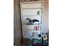 Tall and Thin White BookCase barely even a couple of months old! Excellent condition