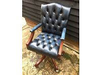 """Mini"" Gainsborough Leather swivel office chair antiqued blue leather mahogany wood vgc"