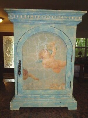 Cabinet Cupid Distressed Decorative Painted Blue Wood Table Curio Shelf (Painted Curio)