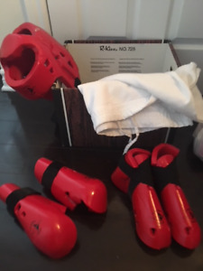 Karate uniform and brand new sparring equipment