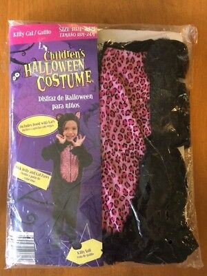 NEW Children's Kitty Cat Halloween Costume 18-12 Months Black Pink Belly Hooded