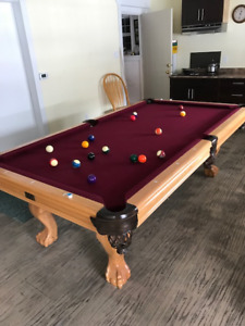 8 Foot Long Pool Table with Solid Oak Legs.