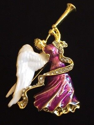 """PURPLE GOLD WHITE RHINESTONE PLAYING THE HORN FLUTE FLYING ANGEL BROOCH 2 3/4"""""""