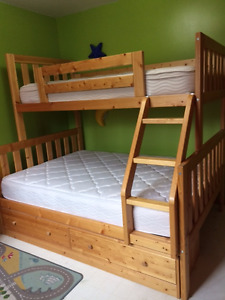 Pine Single over Twin Bunk Beds + Matresses