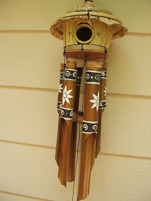Bamboo Wind Chimes Tiki Bird House Painted White Flower FREE SHIP