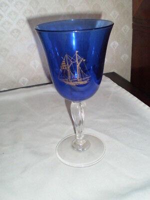 "COBALT BLUE & GOLD NAUTICAL STEMMED WINE GLASS - SHIPS & SHIP WHEELS-  7 3/4 """