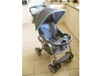 Grey/turquoise pushchair