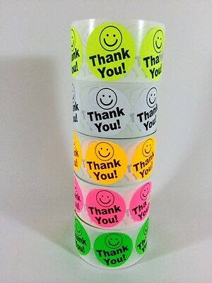 100 Big Thank You Label 2 Colors 100 Smiley Thank You Best Price Fluorescent