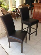 6 X brown leather look dining chairs Bli Bli Maroochydore Area Preview