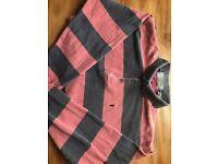 YSL Yves Saint Laurent Designer Polo Shirt Men's Red/Black- Medium